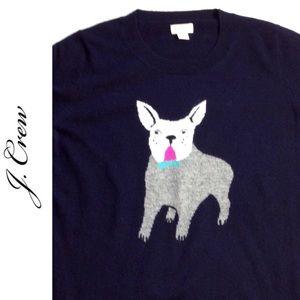 J. Crew French Bulldog Merino Wool Blend Sweater
